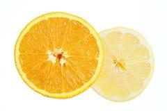 Orange and lemon. Close up royalty free stock photo