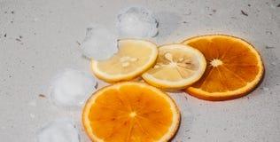 Orange and lemon fresh. Orange and lemon refresh ice Stock Images