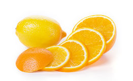 Orange and lemon fruit on white Royalty Free Stock Photos