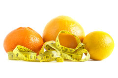Orange, lemon and grapefruit. Fresh citruses for weight loss Royalty Free Stock Images