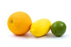 Orange, lemon and lime. Isolated on the white background Royalty Free Stock Photos