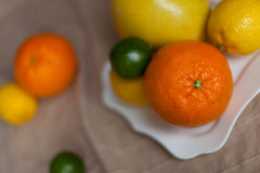 Orange a lemon a lime on a table Royalty Free Stock Images