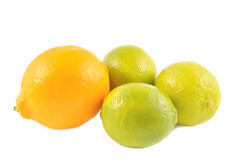 Orange lemon and lime on a white background Stock Photography