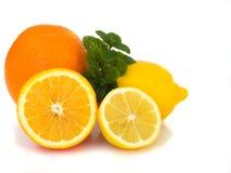 Orange, lemon, mint. Close up on oranges, lemons and mint Stock Image