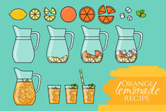 Orange lemonade with citrus slices, ice and meant in jug and glass with straw. Step-by-step instruction. Isolated on color backgro. Und. Modern flat style.Line Royalty Free Stock Images