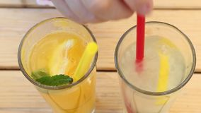 Orange lemonade and lemon stock footage