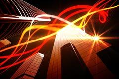 Orange Lichtstrahlen über Wolkenkratzern Lizenzfreie Stockfotos