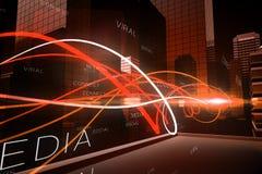 Orange Lichtwelle über Wolkenkratzern Lizenzfreie Stockfotos