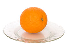 Orange. Lies in plates, on a white background Royalty Free Stock Images