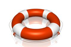 Orange life buoy life buoy with rope isolated Stock Photo