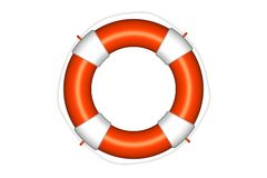 Orange life buoy  with rope isolated Royalty Free Stock Images