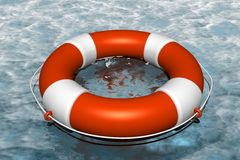 Orange life buoy in the water Stock Photo