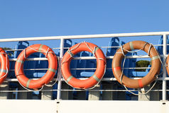 Orange life buoys. In a deck of a boat royalty free stock image