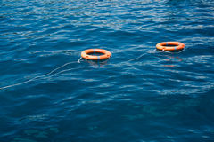 Orange life buoys floating on the surface of blue water Stock Photos