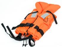 Orange life jacket isolated on white. Life jacket isolated on white royalty free stock images