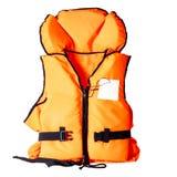 Orange life jacket on white background. Orange life jacket isolated on white background stock photo