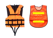 Orange Life Jacket  and Orange vest  isolated on white, clipping Royalty Free Stock Photography