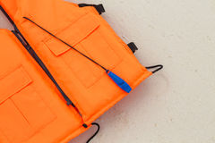 Orange life jacket Stock Photo