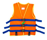 Orange Life jacket with whistle isolated on white background. Orange Life jacket isolated on white background royalty free stock photo