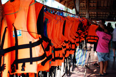 Orange Life Jackets Royalty Free Stock Photography