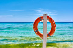 Orange Life preserver. At beach Royalty Free Stock Images