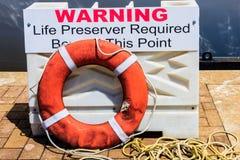 Warning and Life Ring Royalty Free Stock Photo