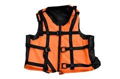 Orange life vest isolated. Orange life jacket isolated water sports outfit on white background royalty free stock photo