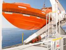 Orange lifeboat on deck of cruise ship Royalty Free Stock Image