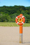 Orange lifebuoy on the beach Stock Photo