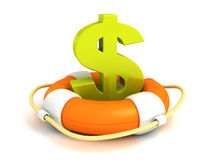 Orange lifebuoy with green dollar symbol Royalty Free Stock Photos