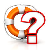 Orange lifebuoy and red question mark on white Stock Image