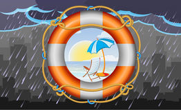 Orange lifebuoy with stripes and rope as vacation symbol Royalty Free Stock Image