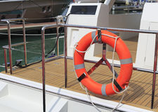 Orange lifebuoy. On the yacht Royalty Free Stock Photography