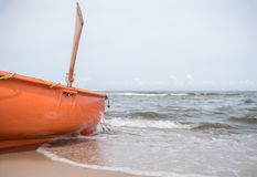 Lifeguard boat on the beach Royalty Free Stock Images