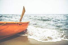 Lifeguard boat on the beach Royalty Free Stock Photos