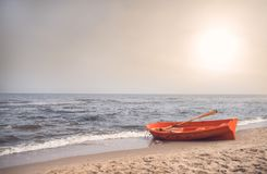 Lifeguard boat on the beach Stock Photos