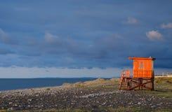 Orange lifeguard station on empty beach of Batumi,Georgia Stock Photos