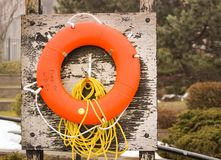 Orange lifesaver. At the seashore in Halifax, Canada Royalty Free Stock Photography