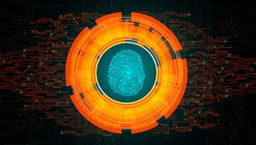 Orange light abstract technology background for concept fingerprint scanning. Illustration of Orange light abstract technology background for concept fingerprint Royalty Free Stock Photography