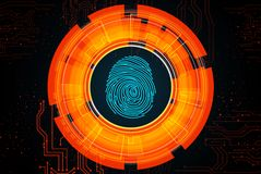 Orange light abstract technology background for concept fingerprint scanning Stock Photography