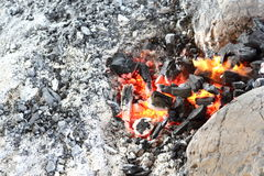 Orange light from charcoal stove burned. Royalty Free Stock Photo