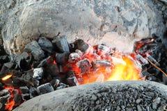 Orange light from charcoal stove burned. Stock Photo