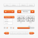 Orange Light User Interface Controls. Web Elements. Website, Software UI:  Royalty Free Stock Images