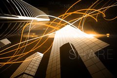 Orange light wave over skyscrapers Stock Images