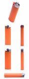 Orange Lighter. Six different angles of an orange lighter royalty free stock images