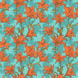 Orange lilies background. Seamless pattern Royalty Free Stock Photography
