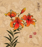 Orange lily flowers on vintage background with flowers. Traditional oriental ink painting sumi-e, u-sin, go-hua Royalty Free Stock Images