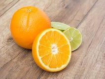 Orange And Lime Citrus Fruits Stock Photos