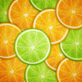 Orange and lime fruit slices background stock illustration