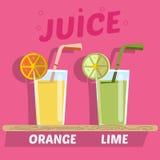 Orange and lime juice Royalty Free Stock Photo